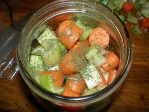 Other herbs and spices can go on top or within the veggies.
